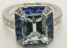 18ct. White Gold Art Deco Style Aquamarine, Sapphire and Diamond Cluster Ring