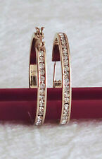 One Pair New Without Tags Fashion Clear Crystal Hoop Earrings