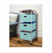 Bintopia Mini 3 Drawer Decorative Fabric Cart 4 Caster Wheels Easy To Assemble