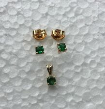 14k 585 Solid Yellow Gold Emerald Necklace Pendant & Stud Post Earrings