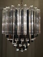 Large RARE Mid Century Modern 1960's Chrome Prism Murano Glass Chandelier 20""