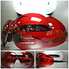 MOTORCYCLE BIKER SPORT WRAP SAFETY CYCLING Riding Driving Red Lens SUN GLASSES