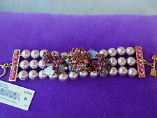 Betsey Johnson Authentic NWT Rose Gold-Tone Faux Pearl Floral  Bracelet