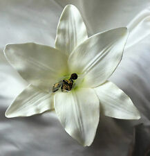 SILK FLOWERS, REAL TOUCH LILY FLOWER HEAD, white