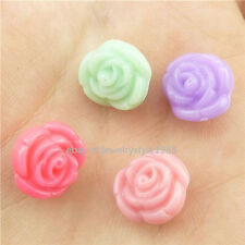 15630*100PCS Gorgeous Rose Flower Acrylic Spacer 11mm Beads Mix Colorful Flower