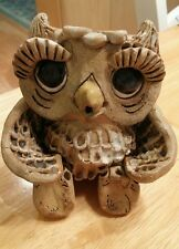 Pinch pottery owl figurine vtg mid century long eye lashes anthropomorphic