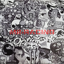 "*24""x60"" 2ftx5ft Black White Stickerbomb Graffiti Vinyl sticker wrap Decal Film"