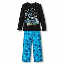 Circo Boys 2 Piece 'Touch Down' Football Pajamas Set Ebony/Blue Size X-Small 4-5