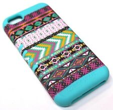 for iPhone 5c Tribal Arrow Mint Blue Green Zig Zag Hybrid Rubber Koolkase Case