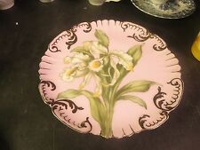 "Elite Limoges 8-1/2"" Hand Painted Plate Pink with White & Green Floral Motif"