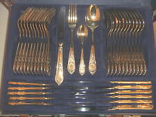 Cutlery EDELSTAHL 24 ct GOLD plated NEW 12 person setting  37 pieces + case