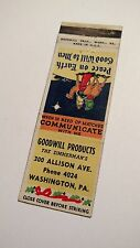 Goodwill Products, Washington PA., Matchbook Cover
