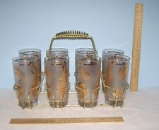 8 Glasses - Metal Rack / Caddy - unmarked - Tumblers have gold tone leaf designs