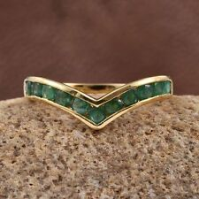 1Ct Vivid Brazilian Emerald Wishbone 14K Y Gold/925 Ring Size T