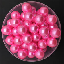 NEW DIY 8mm 50PCS Rose Acrylic No Hole Round Pearl Loose Beads Jewelry Making