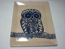 Pottery Barn Owl Tray Melamine Plastic Large Serving Platter Blue Brown Tan Mod