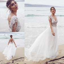 2016 NEW White Ivory Bridal Gown Wedding Dress Custom Size 4 6 8 10 12 14 16 18