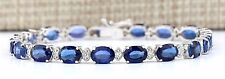 16.96CTW NATURAL SAPPHIRE AND DIAMOND BRACELET  IN 14K SOLID WHITE GOLD