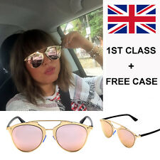 New Rose Gold Mirrored Aviator Retro Style Sunglasses 400 UV FREE CASE UK SELLER