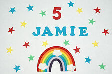 Birthday loose cake decorations, rainbow, name, age and stars
