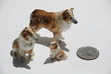 3 Miniature Painted Bone China Porcelain Collie Dog Family Figurines