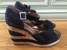 Terry De Havilland D Havz Black Suede Cork Wedges 38 5 Office