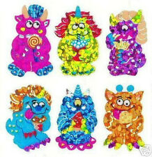Sandylion Vintage Glittery Halloween Monsters Stickers *3 Squares* SUPER RARE