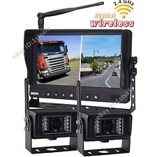 "9"" DIGITAL WIRELESS SPLIT MONITOR REAR VIEW BACKUP CAMERA SYSTEM NO INTERFERENCE"