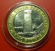 SCARCE IOM Manx £2 Round Tower of Peel Castle 2014 Slightly Circ in Prot Caps