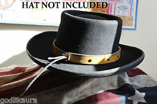 """QUALITY 3/4"""" YELLOW LEATHER HAND MADE AND CUT HAT BAND COWBOY JOHN WAYNE WESTERN"""
