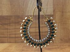 New Bollywood Ring Bali Jhumki Drop Down Pearl Moti Green Color Stone Earring