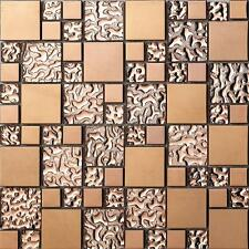 11PCS rose gold stainless steel metal mosaic glass tile bathroom background wall