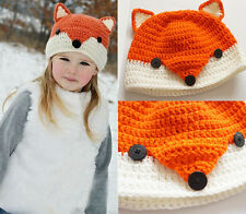 Newborn Baby Girl Boy Knit Crochet Clothes Beanie Hat Outfit Photo Fox Design