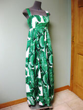 Dolce & Gabbana AUTH NWT Green Leaf Print Sq Neck Empire Waist Maxi Dress 44