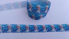 Ruban gros grain La Reine des Neiges Bleu 25 mm ,vendu au mètre , Ribbon Frozen