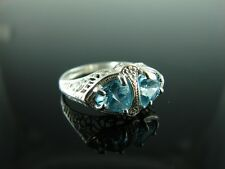 Sterling Silver Antique Style Filigree Ring With Natural Sky Blue Topaz Gemstone