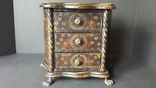 Wood Metal 3 Drawer Jewelry Chest Box Footed Fleur De Lis  Design Pattern 9x11