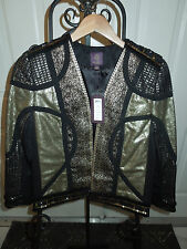 Marchesa Voyage Black Gold Sequin Embellished Scrap Jacket Size 4 MSRP $895+