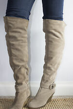 Over the knee boots Dune Size 6 (39) beige taupe wedges gum sole winter shoe