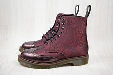 Men's BNIB Dr Martens Calder Cherry Red Paisley Silk Boots Size UK 7