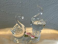 Vintage Clear Glass Double Two Swan Art Glass Figurine