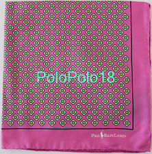 New Polo Ralph Lauren Silk Pocket Square Handkerchief Italy Pink