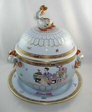 """Herend MING """"HUGE 6 QT COVERED DOLPHIN TUREEN & UNDERPLATE"""" 6510/MG / Blue Glaze"""