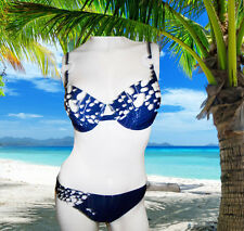 NEW GIDEON OBERSON by GOTTEX blue ink BATHING SUIT SWIMSUIT BIKINI SET SIEE8