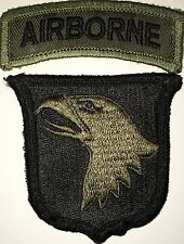US ARMY OD SUBDUED 101ST AIRBORNE DIVISION PATCH AND AIRBORNE TAB USED (H232)