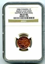 2006 CANADA CENT WITH LOGO NO 'P' MARK NGC MS67 RD STEEL MAPLE LEAF TOP POP !!