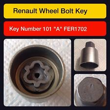 Renault locking wheel nut/master key code 101 letter A