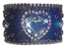 NEW BLACK HEART SNAKE LEATHER RHINESTONE CUFF BRACELET
