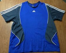 ADIDAS fitness polyester V-neck shirt blue XL athletic tee work-out embroidery