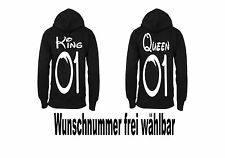 King Queen Hoodie Pullover 2 Stück Partner Look Relationship Pärchen XS - XXXXL